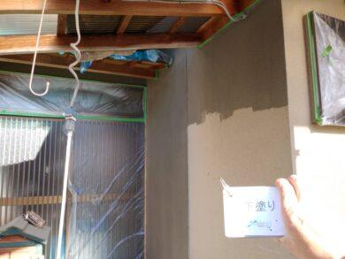 奈良香芝市F様 外壁塗装工事 外壁塗装下塗り1回目