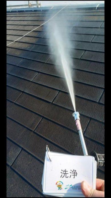 奈良香芝市H様邸 外壁塗装・屋根塗装・防水工事」 屋根高圧洗浄