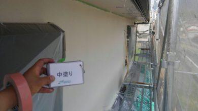 奈良葛城市T様 外壁塗装・ベランダ防水工事 外壁塗装中塗り
