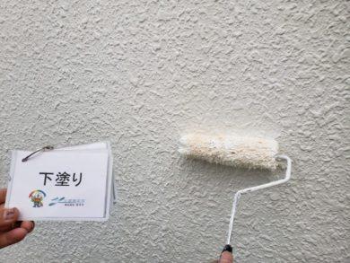 奈良香芝市K様邸 外壁塗装・防水工事 外壁塗装下塗り