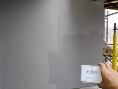 奈良香芝市F様 外壁塗装工事 外壁塗装上塗り