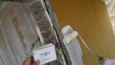 奈良葛城市T様 外壁塗装・ベランダ防水工事 外壁塗装下塗り1回目