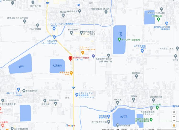 奈良の香芝市の株式会社ヨネヤの外壁塗装と屋根塗装の地図