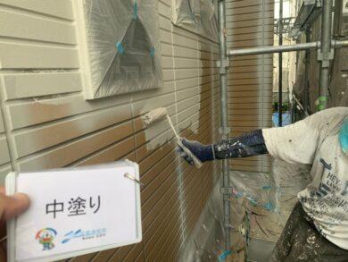 奈良香芝市S様邸 外壁塗装 外壁中塗り