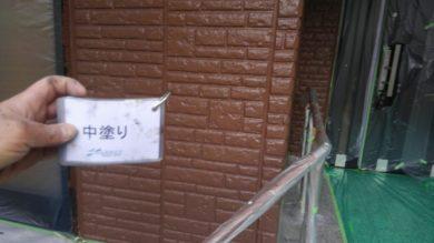 奈良香芝市K様 外壁塗装・屋根塗装 1F外壁塗装中塗り