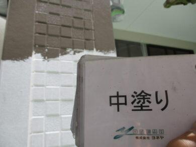 奈良香芝市O様 外壁塗装工事 外壁塗装中塗り