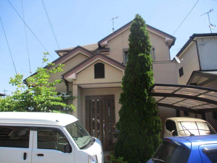 奈良生駒郡三郷町T様邸 外壁塗装・屋根塗装・ベランダ防水工事 施工前の写真