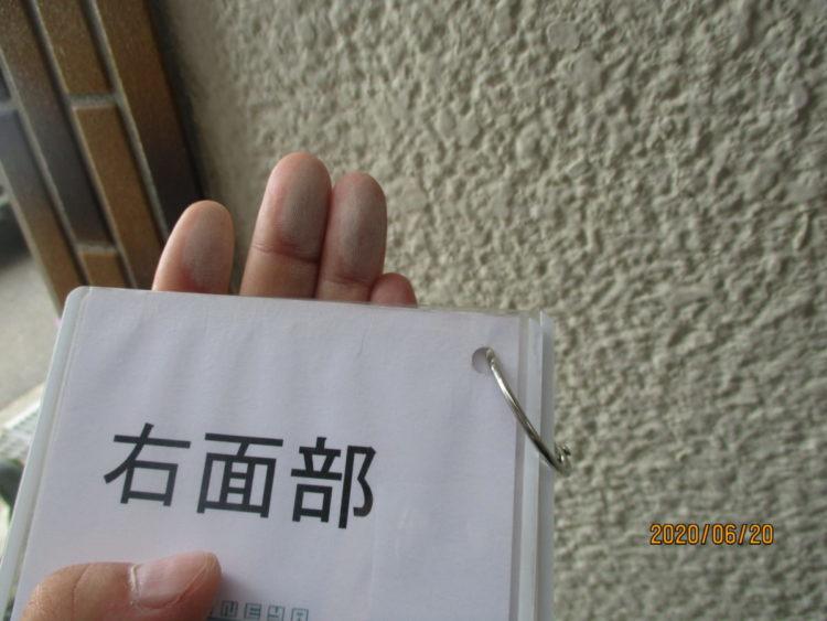 奈良の香芝市の株式会社ヨネヤの外壁塗装と屋根塗装のチョーキング