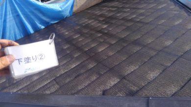 奈良香芝市O様 外壁塗装・屋根塗装・防水工事 屋根塗装下塗り2回目