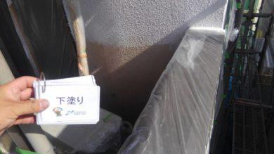 奈良香芝市Y様 外壁塗装・屋根塗装・ベランダ防水・外塀塗装工事 外壁塗装下塗り