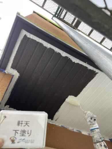 奈良生駒郡三郷町I様 外壁塗装・屋根塗装 軒天下塗り