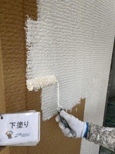 奈良生駒郡三郷町I様 外壁塗装・屋根塗装 外壁下塗り