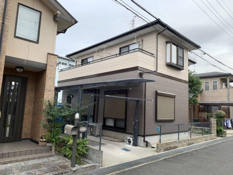 奈良の香芝市の株式会社ヨネヤの外壁塗装と屋根塗装のブラウンの家