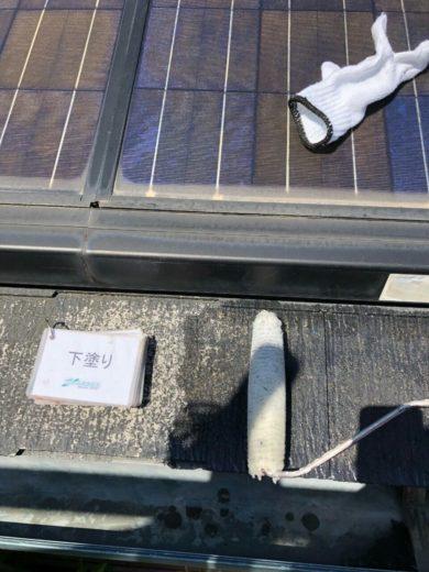 奈良天理市N様邸 外壁塗装・屋根塗装・ベランダ防水工事 屋根塗装下塗り1回目
