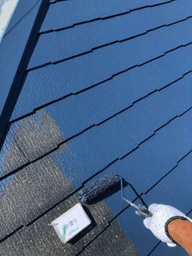 奈良天理市N様邸 外壁塗装・屋根塗装・ベランダ防水工事 屋根塗装中塗り