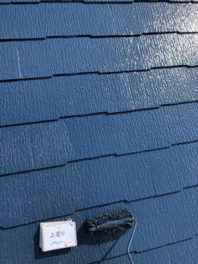 奈良天理市N様邸 外壁塗装・屋根塗装・ベランダ防水工事 屋根塗装上塗り
