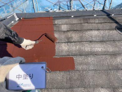 奈良・北葛城郡河合町S様 外壁塗装・屋根塗装 屋根部、中塗り