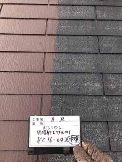 奈良生駒市O様 外壁塗装・屋根塗装工事 屋根塗装中塗り