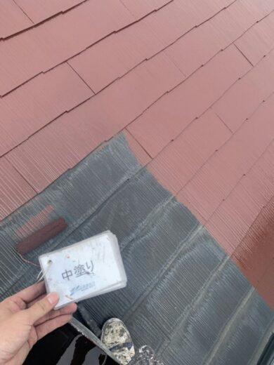 奈良香芝市K様邸 外壁塗装・屋根塗装工事 屋根中塗り