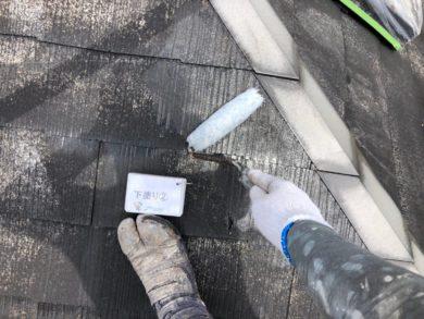 奈良北葛城郡上牧町H様 外壁塗装・屋根塗装・ベランダ防水工事 屋根塗装下塗り2回目