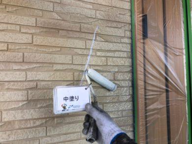 奈良大和郡山市N様邸 外壁塗装・ベランダ防水工事 外壁塗装中塗り