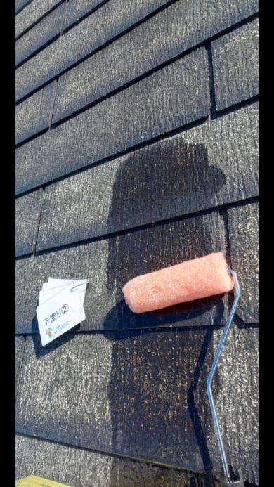 奈良香芝市H様邸 外壁塗装・屋根塗装・防水工事」 屋根塗装下塗り2回目