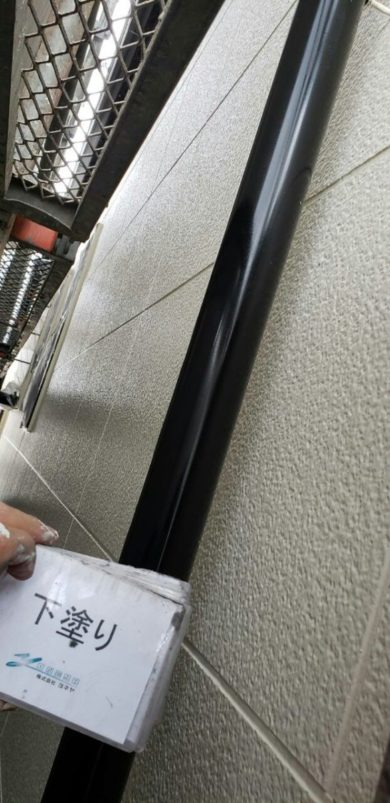 奈良香芝市Y様 外壁塗装・屋根塗装・防水工事 樋 下塗り