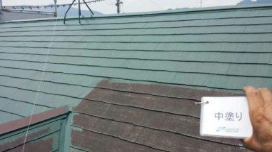 奈良香芝市K様 外壁塗装・屋根塗装・ベランダ防水工事 屋根塗装中塗り