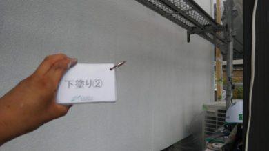 奈良葛城市T様 外壁塗装・ベランダ防水工事 外壁塗装下塗り2回目