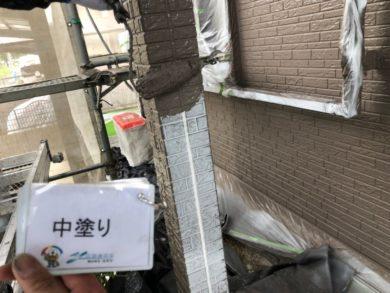 奈良北葛城郡上牧町H様 外壁塗装・屋根塗装・ベランダ防水工事 外壁塗装中塗り