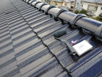 奈良・北葛城郡王寺町K様 外壁塗装・屋根塗装 屋根部の塗装 上塗り