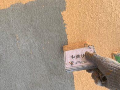 奈良北葛城郡王寺町S様邸 外壁塗装・防水工事 外壁中塗り