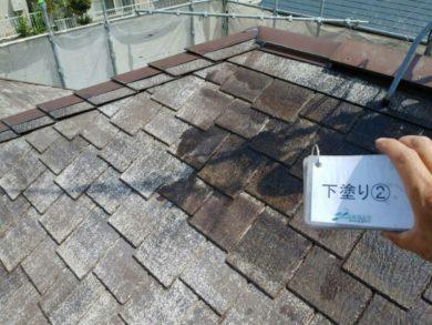 奈良・生駒郡三郷町M様 外壁塗装・屋根塗装 屋根塗装下塗り2回目