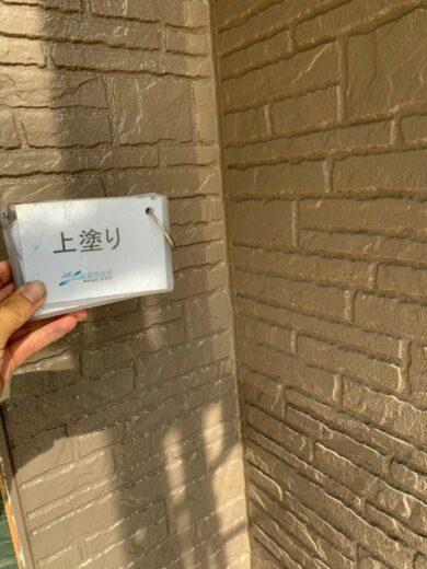 奈良香芝市K様 外壁塗装・屋根塗装・防水工事 1F外壁塗装上塗り