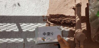 奈良北葛城郡上牧町H様 外壁塗装・屋根塗装・防水工事 外壁塗装中塗り