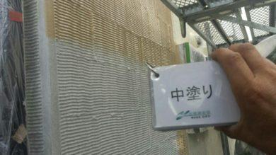 奈良奈良市I様邸 外壁塗装・屋根塗装・ベランダ防水工事 外壁塗装中塗り