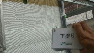 奈良奈良市I様邸 外壁塗装・屋根塗装・ベランダ防水工事 外壁塗装下塗り