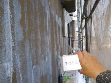 奈良香芝市F様 外壁塗装工事 外壁塗装下塗り2回目