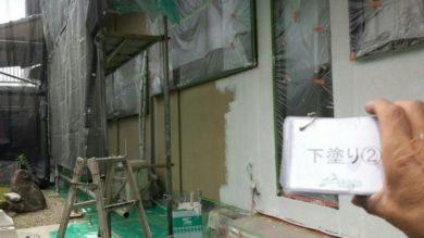 奈良香芝市F様 外壁塗装・外塀塗装 外壁塗装下塗り2回目
