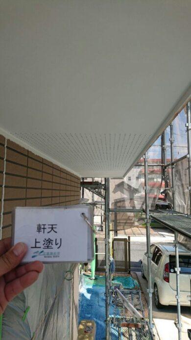 奈良生駒郡平群町M様邸 外壁塗装・屋根塗装・防水工事 軒天上塗り