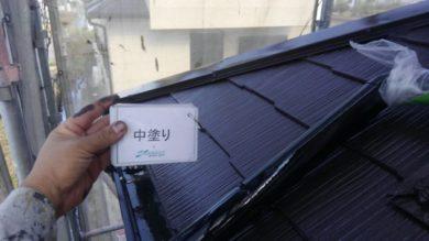 奈良桜井市N様 外壁塗装・屋根塗装 屋根塗装中塗り