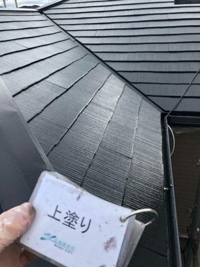 奈良・橿原市K様邸、外壁塗装・屋根塗装 屋根部塗装 上塗り