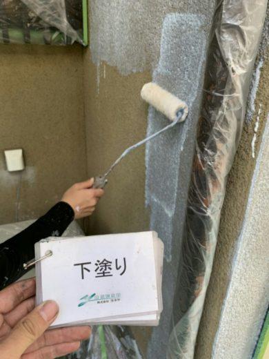奈良生駒市H様邸 外壁塗装 外壁塗装下塗り1回目