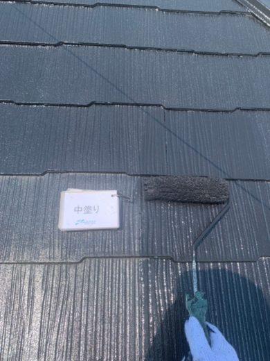 奈良宇陀市H様 外壁塗装・屋根塗装・防水工事 屋根塗装中塗り