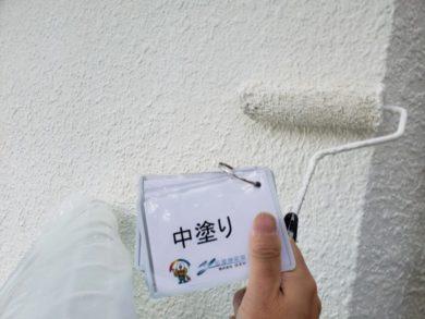 奈良香芝市K様邸 外壁塗装・防水工事 外壁塗装中塗り