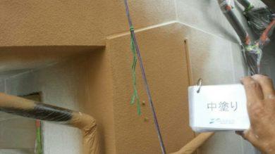 奈良香芝市F様 外壁塗装・外塀塗装 外壁塗装中塗り