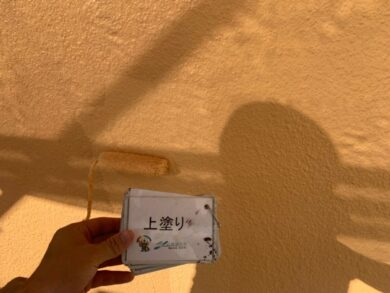 奈良北葛城郡王寺町S様邸 外壁塗装・防水工事 外壁上塗り