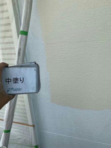 奈良香芝市K様邸 外壁塗装・屋根塗装・防水工事 2F外壁塗装中塗り