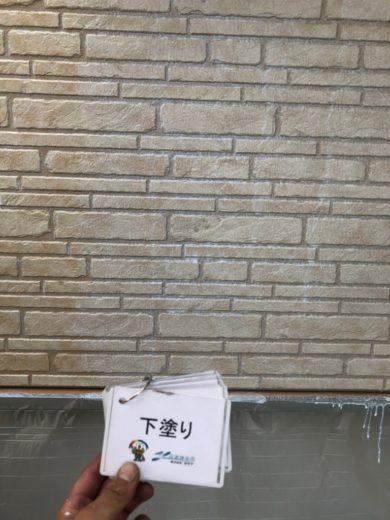 奈良生駒市N様 外壁塗装・屋根カバー工法・ベランダ防水工事・外塀塗装 外壁塗装下塗り1回目