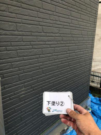 奈良生駒市N様 外壁塗装・屋根カバー工法・ベランダ防水工事・外塀塗装 外壁塗装下塗り2回目